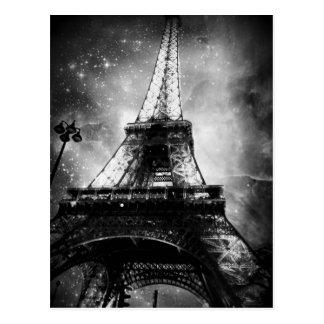 Cartão preto e branco de Paris, a torre Eiffel