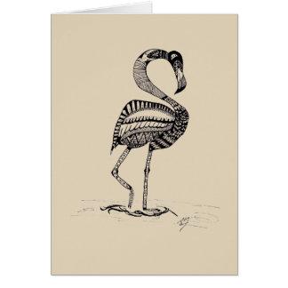 Cartão preto e branco do flamingo
