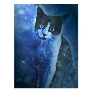 Cartão preto e branco do gatinho