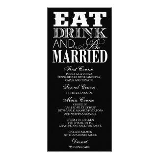 Cartão preto e branco do menu do comensal de