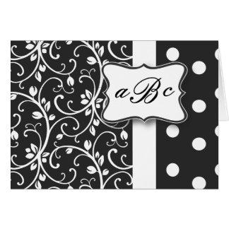 Cartão preto e branco do monograma