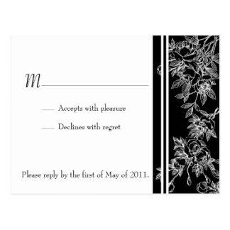 Cartão preto e branco elegante do rosa RSVP