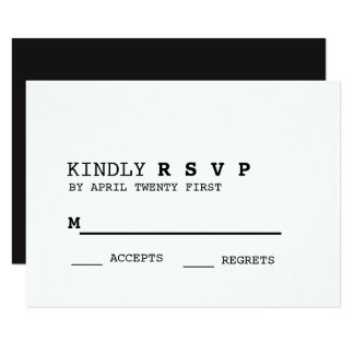 Cartão preto e branco minimalista de RSVP Convite 8.89 X 12.7cm