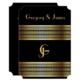 Cartão Preto e gay do ouro/convite lésbica do casamento