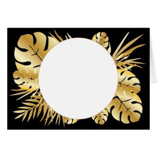 Cartão Preto e modelo tropical elegante das folhas do