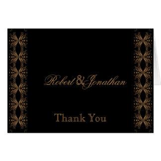 Cartão Preto e obrigado alegre do casamento do ouro você