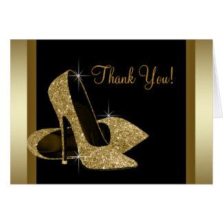 Cartão Preto e obrigado dos calçados do salto alto do