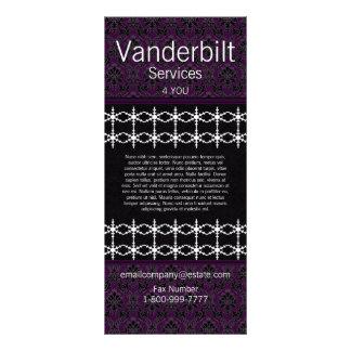 Cartão preto e roxo da cremalheira do damasco 10.16 x 22.86cm panfleto