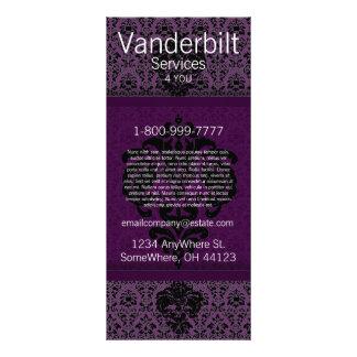 Cartão preto e roxo da cremalheira do damasco modelo de panfleto informativo