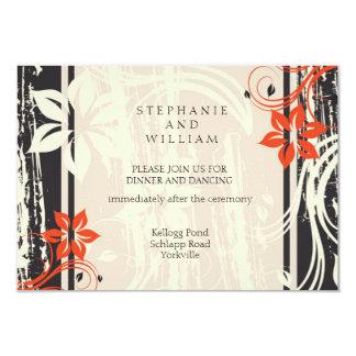 Cartão preto e vermelho da recepção de casamento convite 8.89 x 12.7cm