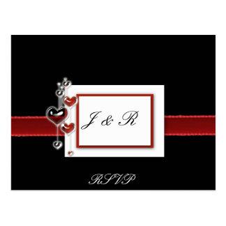 Cartão preto e vermelho de RSVP Cartão Postal