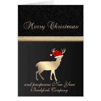 Cartão Preto elegante, chapéu do papai noel dos cervos do