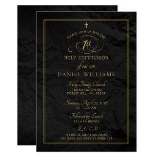 Cartão Preto elegante & comunhão santamente do roteiro do