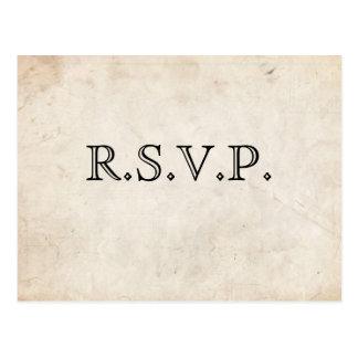 Cartão preto elegante do pergaminho RSVP Cartao Postal