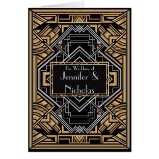 Cartão Preto, falso ouro e estilo de Gatsby do art deco