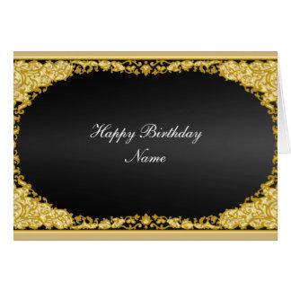 """Cartão preto """"feliz aniversario """" do ouro"""