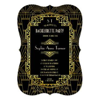 Cartão Preto & festa de solteira de Gatsby do ouro grande