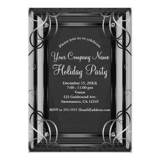 Cartão Preto & festa natalícia incorporada elegante da