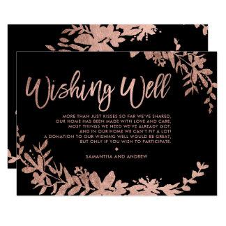 Cartão Preto floral da tipografia cor-de-rosa do ouro que
