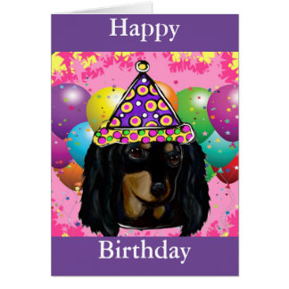 Cartão Preto longo Doxie do cabelo do partido