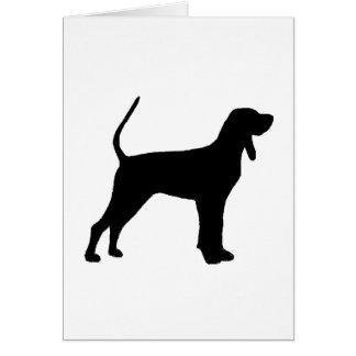 Cartão preto preto e tan do silo do coonhound
