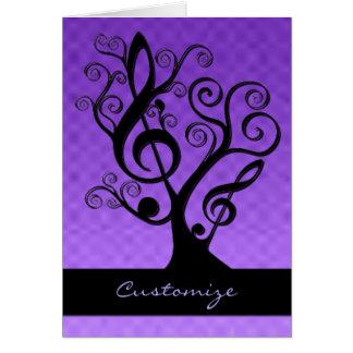 Cartão preto & roxo da árvore do Clef de triplo da