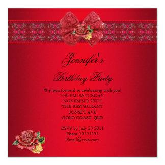 Cartão Preto vermelho elegante elegante do ouro da festa