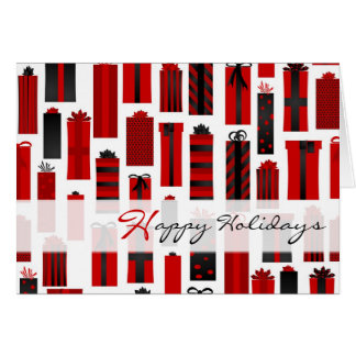 Cartão Preto vermelho envolvido bonito dos presentes boas