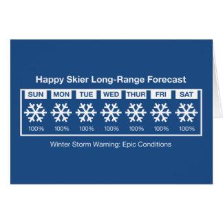 Cartão Previsão feliz do esquiador