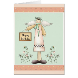 Cartão Prim macio do anjo do feliz aniversario