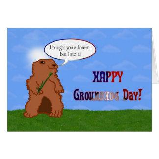 Cartão Primavera do dia de Groundhog feliz do dia de