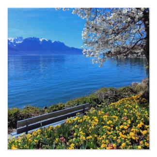 Cartão Primavera em Genebra ou em lago Leman, Montreux,