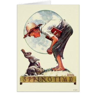 Cartão Primavera, menino 1935 com coelho