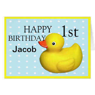 Cartão Primeira borracha do aniversário Ducky