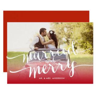 Cartão Primeira do Natal do feriado foto casado e da
