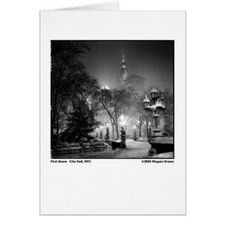 Cartão Primeira neve - câmara municipal, NYC