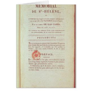 Cartão Primeira página 'de Memorial de Sainte-Helene'