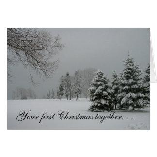Cartão Primeira paisagem de junto-Inverno do Natal