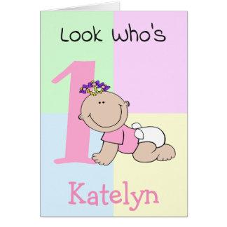 Cartão Primeiro aniversario bonito do bebé dos desenhos