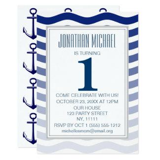Cartão Primeiro aniversário da âncora azul náutica da