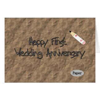 Cartão Primeiro aniversário de casamento feliz