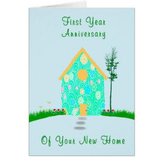 Cartão Primeiro aniversário do ano da casa nova
