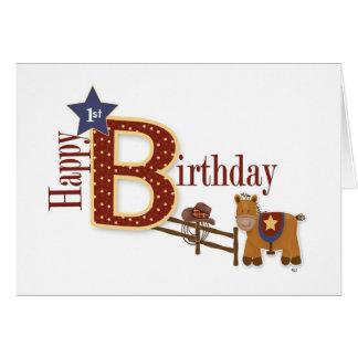 Cartão Primeiro aniversario do vaqueiro