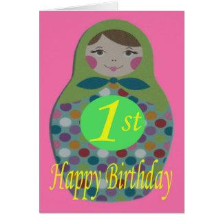 Cartão Primeiro aniversario feliz da boneca do russo
