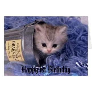 Cartão primeiro aniversario feliz do gatinho