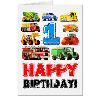 Cartão Primeiro aniversario grande dos caminhões do bebé