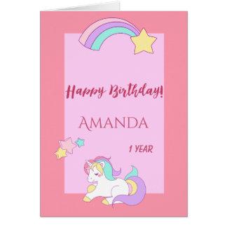 Cartão Primeiro aniversario mágico feliz do unicórnio