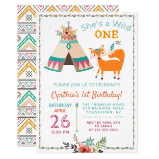 Cartão Primeiro aniversario selvagem do Teepee do Fox
