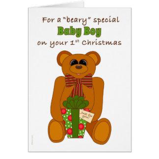 Cartão Primeiro bebé do Special de Beary do Natal