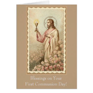 Cartão Primeiro cálice de Jesus do comunhão santamente